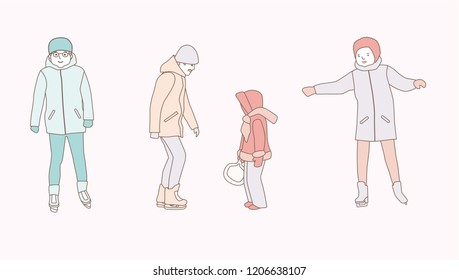 People ice skating outdoors. Men, woman, family. hand drawn style vector doodle design illustrations on white background.