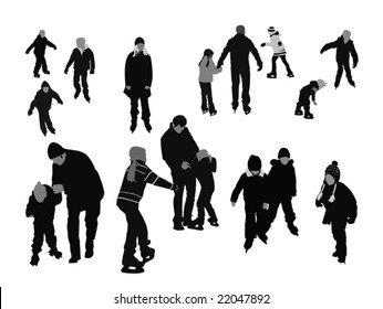 people ice-skating, vector silhouettes collection for designers