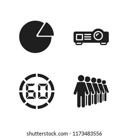 people icon. 4 people vector icons set. pie graphic, queing and projector icons for web and design about people theme