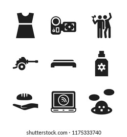 people icon. 9 people vector icons set. party, camcorder and gym step icons for web and design about people theme