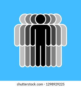 People icon. Crowd sign. Persons symbol. Seven men stand with their hands down. The design graphic element is saved as a vector illustration in the EPS file format.