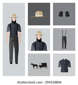 People Icon In Flat style, with Clothes and Icons ( Amish Man )