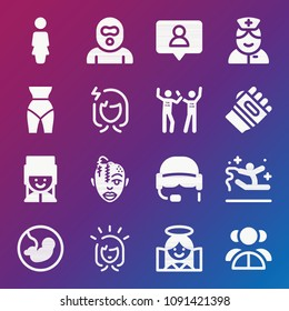 People icon set - filled collection of 16 vector icons such as woman, shape, nurse, teamwork, fans, karate, happy woman, women stressed, follower, burglar, pregnancy, angel
