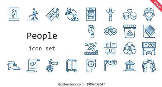 people icon set. line icon style. people related icons such as exhibition, waste, couple, egyptian, shoes, thinking, farmer hoeing, supermarket, bank, toilet, museum, radiation, marriage, layers