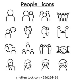 People icon set in thin line style