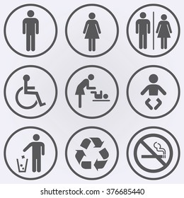 People icon set . Toilet icons . No smoke sign . Recycle sign . Invalid icon . Vector illustration