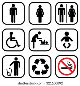 People icon set . Toilet Restroom Icon . Recycle symbol . Vector illustration