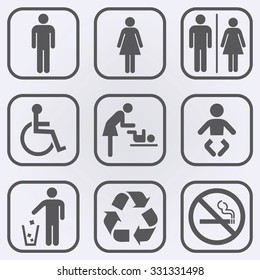 People icon set . Toilet Restroom Icon . Recycle symbol . No smoking sign . Vector illustration