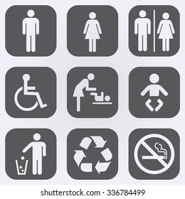 People icon set . Toilet Restroom Icon . Recycle symbol . No smoking sign . Vector illustration