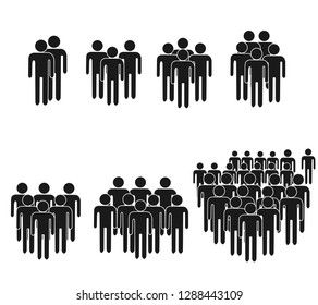 People Icon set in trendy flat style isolated on background. Crowd signs. Persons symbol for your infographics web site design, logo, app, UI. Vector illustration, EPS10