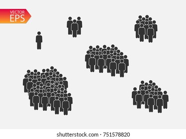 People Icon set in trendy flat style isolated on background. Crowd signs. Persons symbol for your infographics web site design, logo, app, UI. Vector illustration, EPS10.