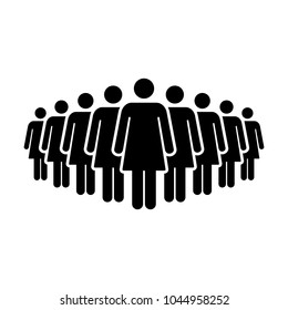 People Icon Vector Group of Women Team Symbol for Business Infographic Design in Glyph Pictogram illustration