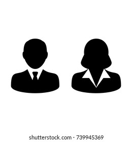 People Icon Vector Male and Female Sign of User Person Profile Avatar Symbol in Glyph  Pictogram illustration