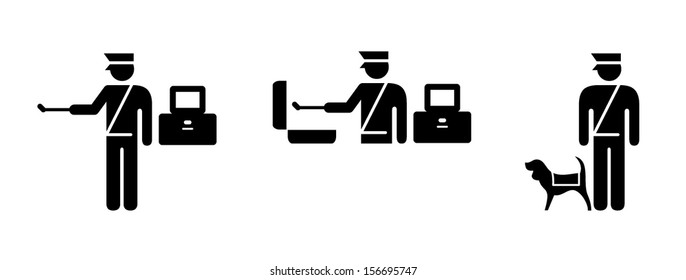 People icons: airport/transport security. Explosive and narcotics swab test, and quarantine sniffer dog.