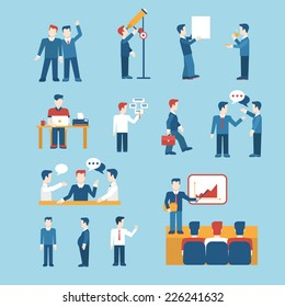 People icons business man situations web template vector icon set. Man woman male female businessman lifestyle icons. Flat human icon set collection.