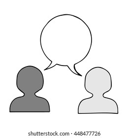 People icons with cloud dialog speech bubbles isolated on the white background.