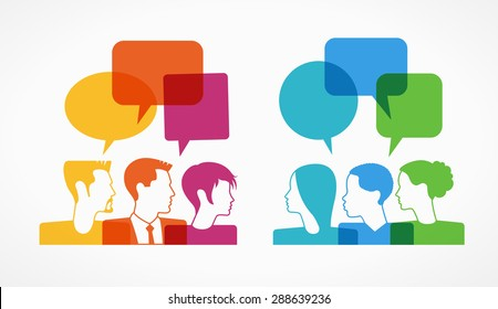 people icons with colorful dialog speech bubbles . This image contains transparency.