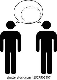 People icons - communication and worldview compatibility in a relationship and connection: conversation where one party completely dominating another.