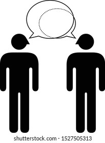 People icons - communication and worldview compatibility in a relationship and connection: conversation where one partner is more domineering.