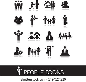 People icons contains man, woman, child, family, grandmother and other silhouettes of people.