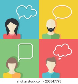 People icons with dialog speech bubbles. Vector illustration. Flat design