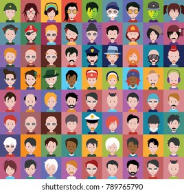 People Icons in flat cartoon style