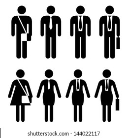 People icons. Going to work. Male and Female figures.