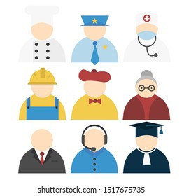 People icons isolated on white background. Colorful set of different professions. Man and woman avatar icons. Flat vector characters