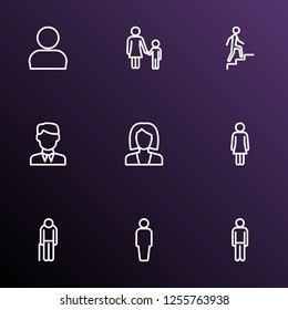People icons line style set with businessman, oldster, human and other man elements. Isolated vector illustration people icons.