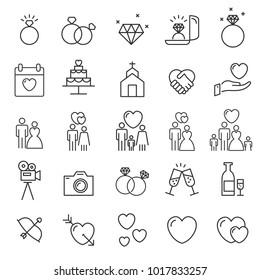 People Icons Line Vector . Wedding  Love Symbol Valentine's Day