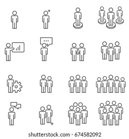 People Icons Line work group Team Vector  Illustration