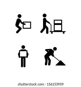 People icons: manual work postures.