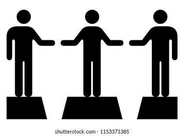 People icons: A mediator bridging the gap between two individuals.