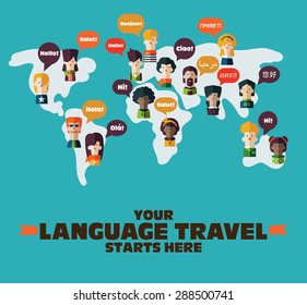 People Icons on World map with Speech Bubbles in different languages. Communication and People Connection Concept. Flat Design. Vector Illustration