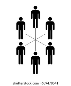People icons organizational and work group structure - flat, flatarchy, consensus, working group, or committee.