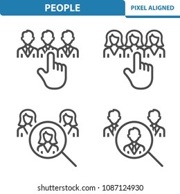People Icons. Professional, pixel perfect icons, EPS 10 format. Designed at 32x32 pixel size. 5x magnification for preview.