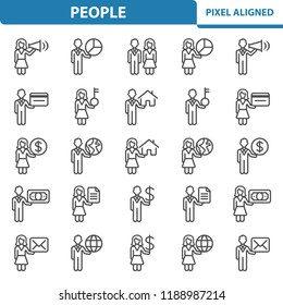 People Icons. Professional, pixel perfect icons, EPS 10 format. Designed at 32x32 pixel size. 2x magnification for preview.