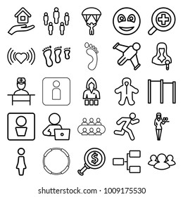 People icons. set of 25 editable outline people icons such as man wc, baby, woman, casino girl, heart, man with laptop, family footprint, dollar search, horizontal bar