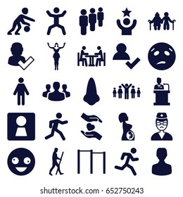 People icons set. set of 25 people filled icons such as woman wc, nose, crazy emot, sweating emot, running, squat, hands holding heart, doctor, pregnant woman, meeting