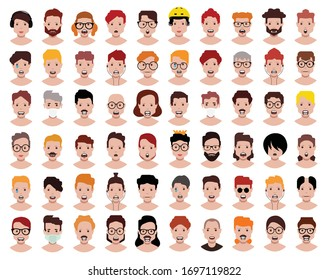 People icons set avatar profile diverse faces (use for social network)