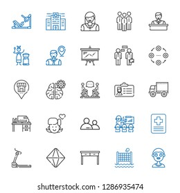 people icons set. Collection of people with boy, volley, table, minerals, treadmill, hospital, presentation, user, girl, desk, side view, id card. Editable and scalable people icons.