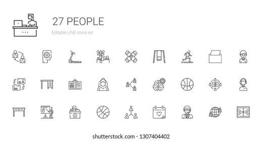 people icons set. Collection of people with doorman, wedding day, network, basketball, desk, presentation, table, mind, bride, id card, dialogue. Editable and scalable people icons.