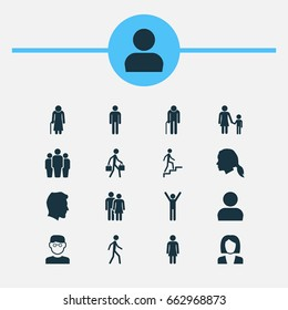 People Icons Set. Collection Of Gentleman, Delivery Person, Gentlewoman Head And Other Elements. Also Includes Symbols Such As Job, Female, Family.