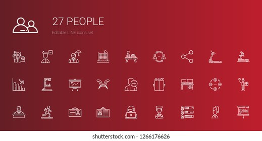 people icons set. Collection of people with skills, postman, user, id card, running, employee, desk, elevator, ears, presentation, gym station. Editable and scalable people icons.