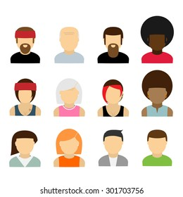 People icons. Set of different people flat icons collection
