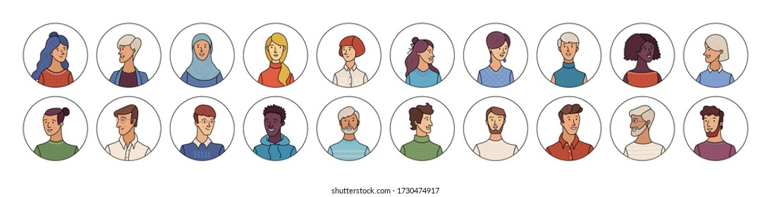 People icons set. Flat vector faces of diverse nationalities in circles. Blonde, brunette, red, and grey hair. Young, adult, and aged men and women. Vector cartoon avatars for account, game, or forum