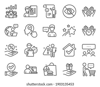 People icons set. Included icon as Buyer think, Loan percent, Safe time signs. Select user, Job interview, Manual doc symbols. Meeting, Approved checkbox, Loyalty program. Person talk. Vector