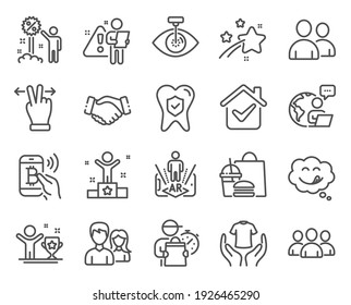 People icons set. Included icon as Eye laser, Handshake, Augmented reality signs. Winner, Couple, Winner cup symbols. Dental insurance, Bitcoin pay, Hold t-shirt. Touchscreen gesture. Vector