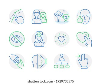People icons set. Included icon as Management, Not looking, Helping hand signs. Oculist doctor, Couple, Hold heart symbols. Swipe up, Face id, Heart. Winner cup, Healthy face line icons. Vector