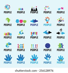 People Icons Set - Isolated On Blue Background - Vector Illustration, Graphic Design, Editable For Your Design